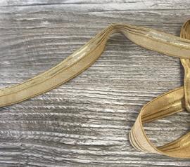 Elastisch biaisband Beige met goud 20mm