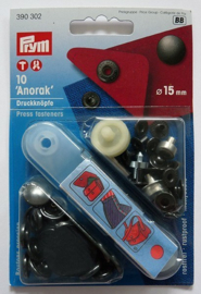 Prym drukknopen  zwart 15mm 10st 390302