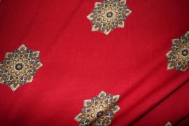 Fantasie bloem donker rood viscose  9336/018 per 25cm