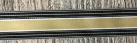 Ripsband 25mm breed Zwart, grijs, beige
