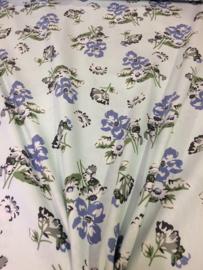Mint blauwe bloem NB 2136/021 per 25cm