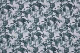 SPANDEX BEDRUKT MET BLOEMEN 11514/022 /25cm