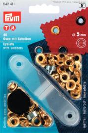 Prym 40 Ringen met schijven 5mm 542411 messing