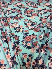 Tricot Turquoise gebloemd NB 2393/004 per 25cm