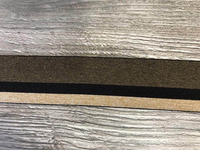 Elastisch lint 40mm zwart/goud