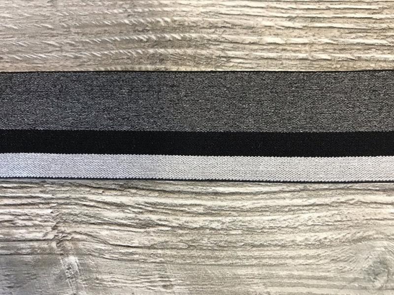 Elastisch lint 40mm zwart/grijs