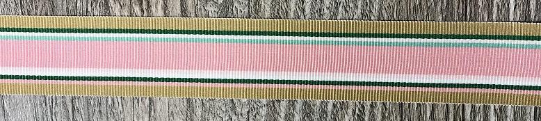 Ripsband 25mm breed Rose, beige, groen