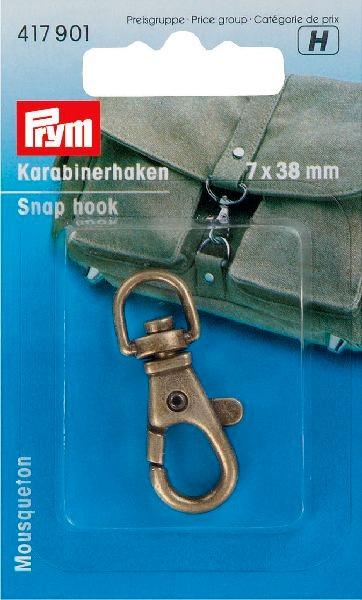Prym Karabijnhaak oudmessing 7/38mm  417.901