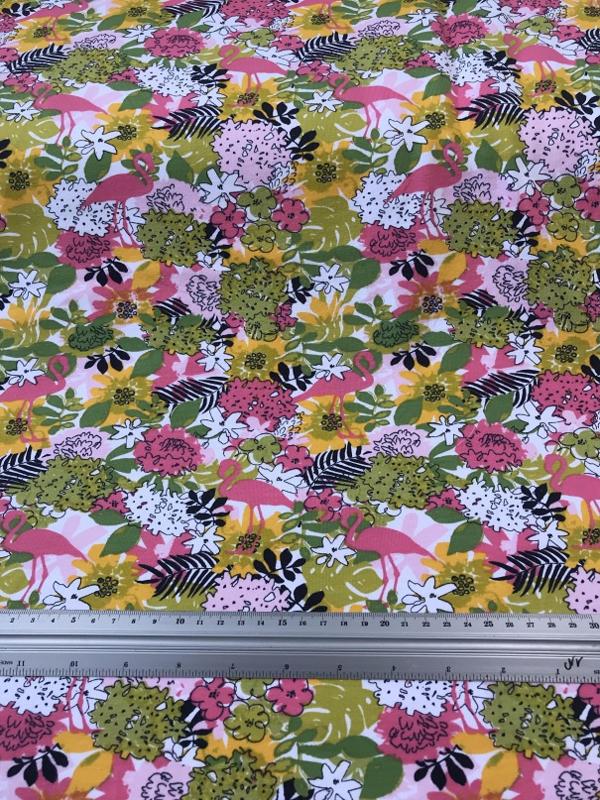 Tropical Flamingo summersweat 6015-02 per 25cm