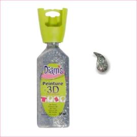 Diam's 3D verf dekkend glitter zilver 37 ml