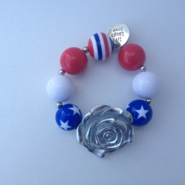 Kralenarmband American Dreams met zilveren bloem