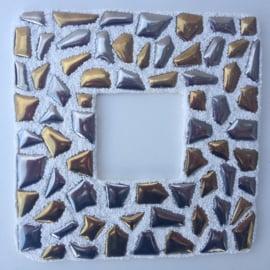 Mozaïek Fotolijst met mozaïeksteentjes van geglazuurd porselein zilver/goud knutstelpakket
