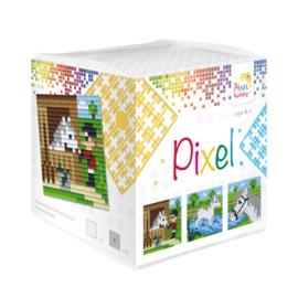 Pixel kubus paarden