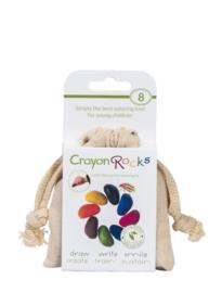 Crayon Rocks ecru katoenen zakje met 8 kleuren soja waskrijtjes