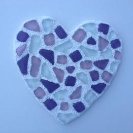 Mozaïek Hart met gekleurde mozaieksteentjes van geglazuurd porselein knutselpakket