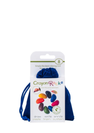 Crayon Rocks blauw fluwelen zakje met 8 kleuren soja waskrijtjes