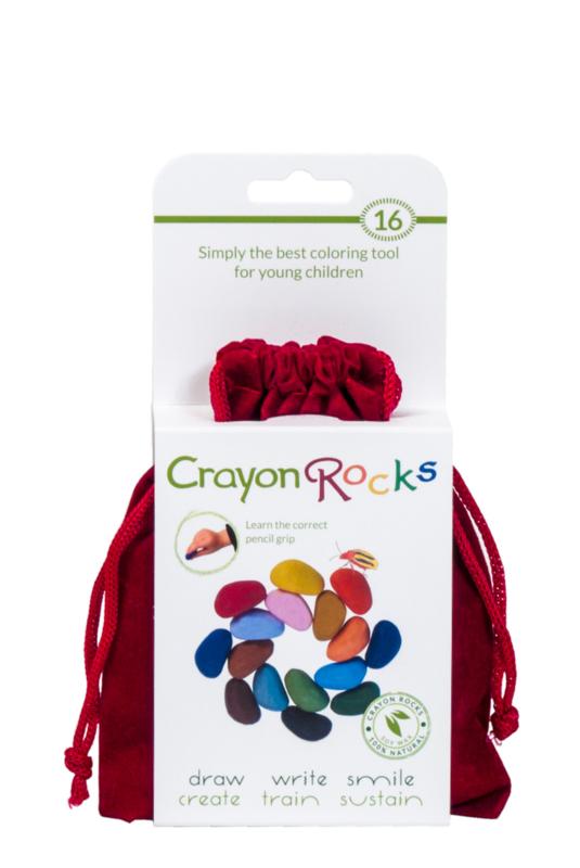 Crayon Rocks rood fluwelen zakje met 16 kleuren sojawaskrijtjes