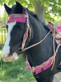 Western FH hoofdstel en borsttuig met fringe Roze Pony