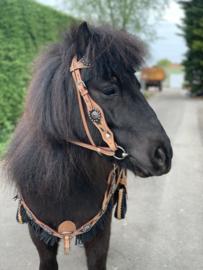Western FH hoofdstel en borsttuig met fringe Zwart Pony