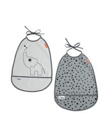 Bib, 2-pack, Elphee, grey tones - Done by Deer
