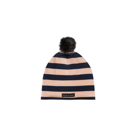 POM POM HAT Biscuit & Blue Stripes - HOJ