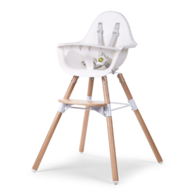 Childhome - EVOLU 2 STOEL NATUREL / WIT 2 in 1+BEUGEL