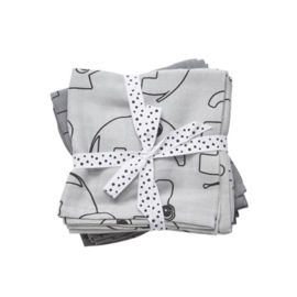 Burp cloth, 2-pack, Contour, grey - Done by Deer