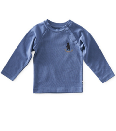 baby raglan shirt - medium blue hug - Little Label