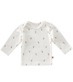 baby shirt lange mouw - off white flowers - Little Label