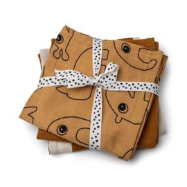 DoneByDeer - Burp cloth 3-pack - GOTS - Deer friends Mustard