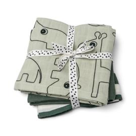Done By Deer -  cloth 3-pack - GOTS - Deer friends Green