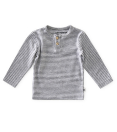 grandad shirt baby jongens - grey melee thin black stripe - Little Label