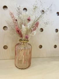 Vaasje met droogbloemen Roze