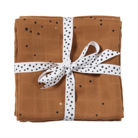 Swaddle, 2-pack, Dreamy dots, mustard - Done By Deer