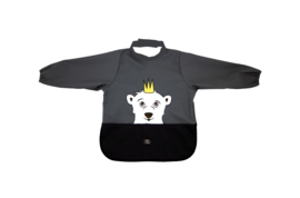 Long Sleeve Bib - Polar Bear Charcoal - Babylivia