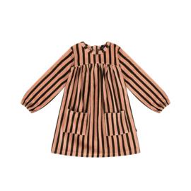 POCKET DRESS Blush & Choco Stripes Velvet - HOJ