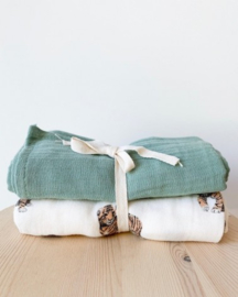 Set Of 2 Organic Swaddle Sage - GASPARD - Milinane