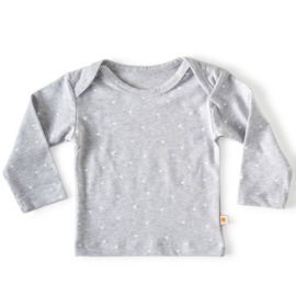 Baby shirt lange mouw Grey melee Hearts - Little Label