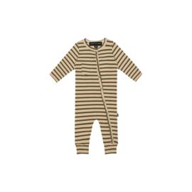 Rib Button Jumpsuit - Moss Stripes - HOJ