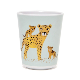 Melamine cup leopard aqua - Petit Monkey