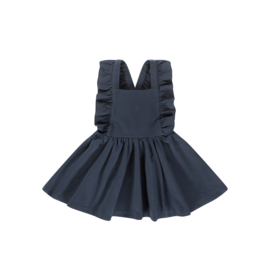 RUFFLED SALOPETTE DRESS Dark Blue - HOJ