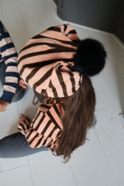POM POM HAT 4-6 jaar Blush & Choco Stripes Velvet - HOJ