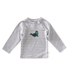 baby raglan shirt - grey melee thin black stripe - Little label