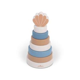 Houten Stapeltoren - Schelp - Blue - Jollein