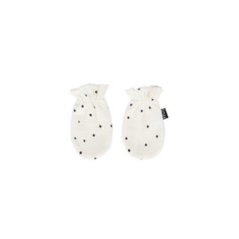 SCRATCH MITTENS Cream Black Dots ( One Size ) - House Of Jamie