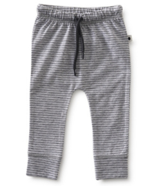 smal baby broekje - grey melee thin black stripe - Little label