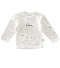 baby shirt lange mouw - off white caramel pink stars - Little Label