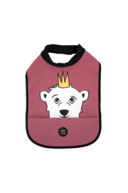 High Neck Bib - Polar Bear Burgundy - Babylivia