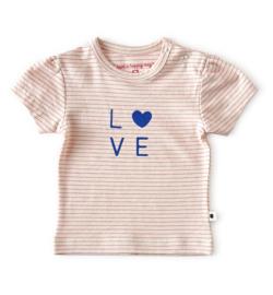 Little Label - baby meisjes shirt korte mouw - fluo pink stripe