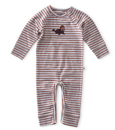 babypakje - striped grey orange red - little label